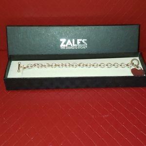 Zales heart charm toggle bracelet